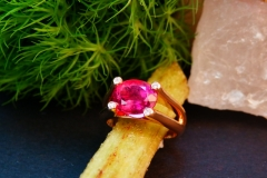 Bague tourmaline rose et diamants, or rose 18K