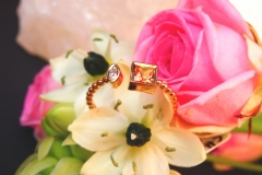 Bague Saphir de Madagascar et diamant navette, or rose 18K