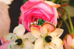 Bague grenat tsavorite et diamants, or rose 18K