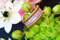 Bague diamants, or blanc et d'or rose 18K