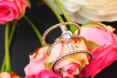 Bague multi-diamants, or blanc et rose 18K