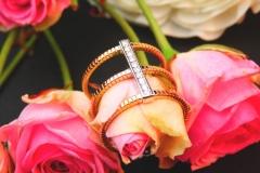 Bague diamants, or blanc et or rose 18K