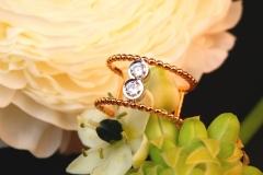 Bague 2 diamants, or blanc et rose 18K