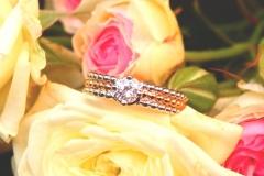 Bague diamant corps 3 anneaux perlés, or rose et or blanc 18K
