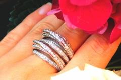 Bague multi-rangs de diamants, or blanc 18K