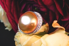 Bague Perle et diamants, or blanc 18K