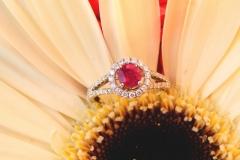 Bague rubis et diamants, or blanc 18K