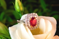 Bague rubis entouré de deux lignes de diamants, or blanc 18K