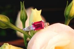 Bague rubis et diamants baguettes, or blanc 18K