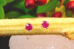 Boucles d'oreilles rubis, or blanc 18K