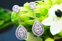 Boucles d'oreilles diamants, or blanc 18K