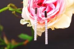 Boucles d'oreilles lignes de diamants, or blanc 18K