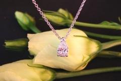 Pendentif diamant poire, or blanc 18K