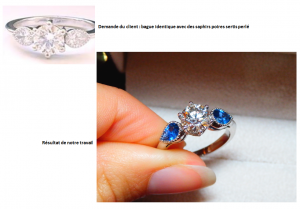 Bague diamant et saphirs poires sertis perlé