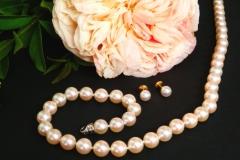 Collier de perles d'eau douce et boucles d'oreilles perles du Japon